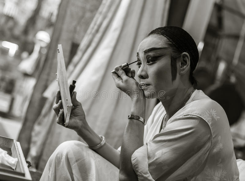 Chinese Opera Actor. Makeup her face royalty free stock photography