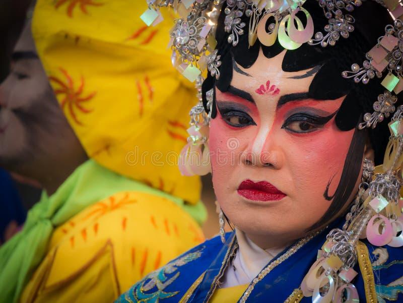 Chinese Opera Actress Celebration of The City Pillar Shrine stock photos