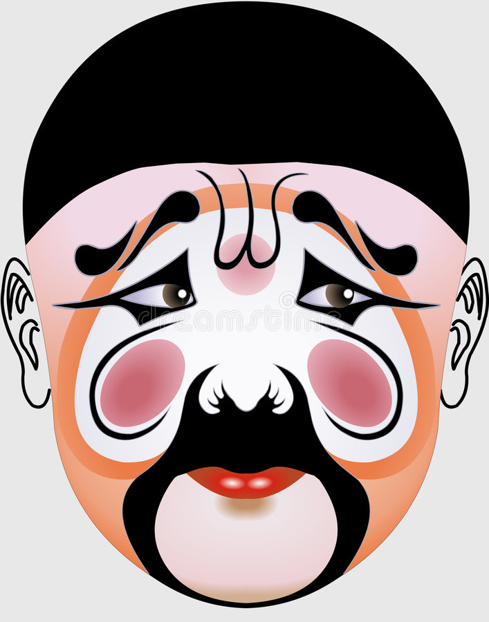 Chinese opera face vector illustration