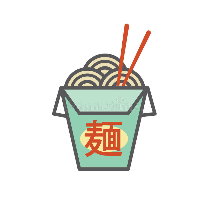 Free Chinese Or Asian Restaurant Take Out Box - Says `Noodles` In Japanese Characters Royalty Free Stock Photography - 84183377