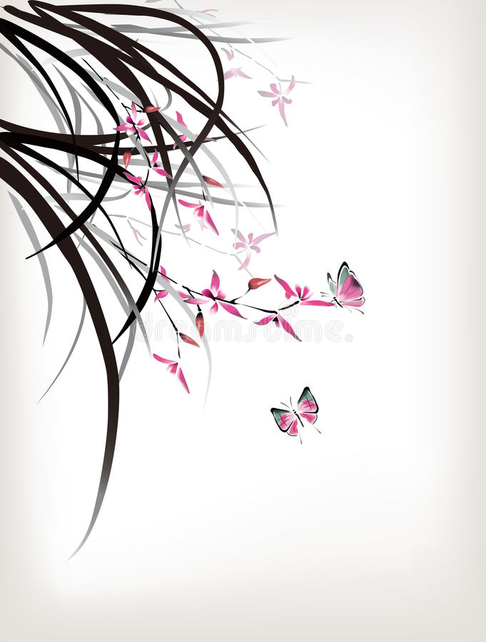 Orchid and butterfly vector illustration