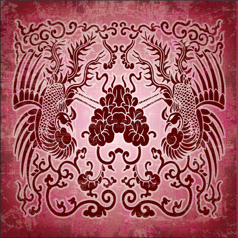 Download Chinese Ornament Phoenix On Red Grunge Paper Stock Illustration - Illustration of element, colorful: 25451519