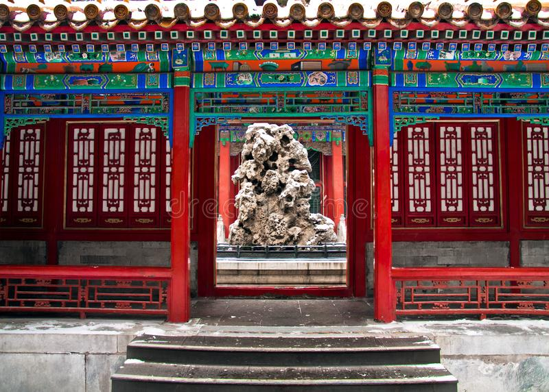 Chinese oude architectuur, Verboden het Paviljoen van Stadsgugong, de Winter en Sneeuw stock afbeelding