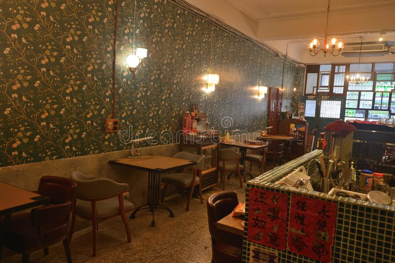 Chinese oude gezellig ouderwetse binnenlandse de koffiewinkel van Shanghai royalty-vrije stock foto's