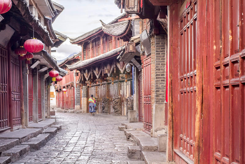 Chinese oude stad in de ochtend, Lijiang, China stock afbeelding