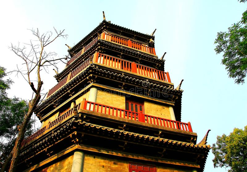 Chinese pagoda architecture. Is a combination of Chinese and Indian architectural art, from the earliest square developed into hexagonal, octagonal, circular stock photos