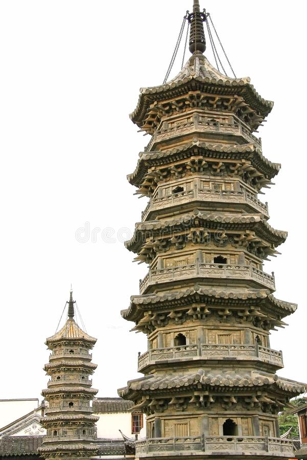 Chinese pagoda architecture. Is a combination of Chinese and Indian architectural art, from the earliest square developed into hexagonal, octagonal, circular royalty free stock images