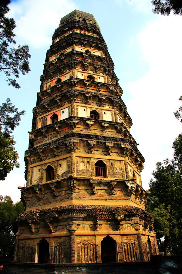 Chinese pagoda architecture. Is a combination of Chinese and Indian architectural art, from the earliest square developed into hexagonal, octagonal, circular royalty free stock image