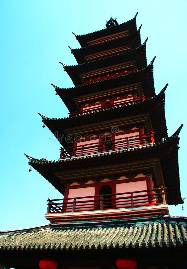 Chinese pagoda architecture. Is a combination of Chinese and Indian architectural art, from the earliest square developed into hexagonal, octagonal, circular stock photo