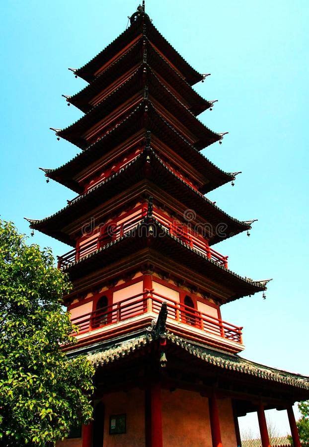Chinese pagoda architecture. Is a combination of Chinese and Indian architectural art, from the earliest square developed into hexagonal, octagonal, circular royalty free stock photo
