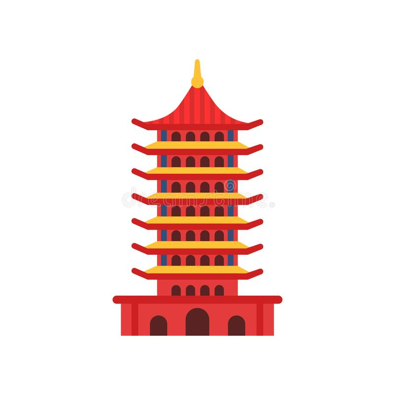 Chinese Pagoda building. Cartoon multi-tiered tower. Buddhist temple. Ancient architecture concept. Culture symbol of vector illustration