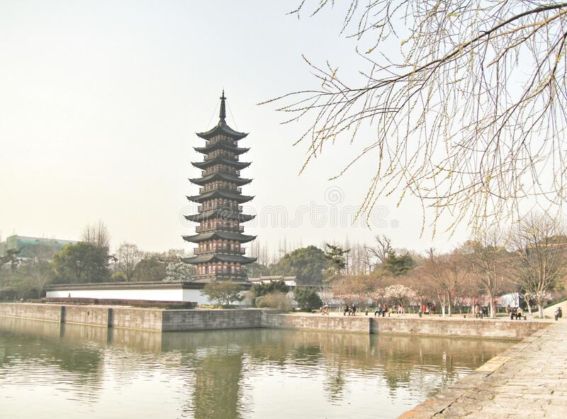 Chinese pagoda, chinese traditional architecture in Yuyuan garden, Shanghai, China stock photography