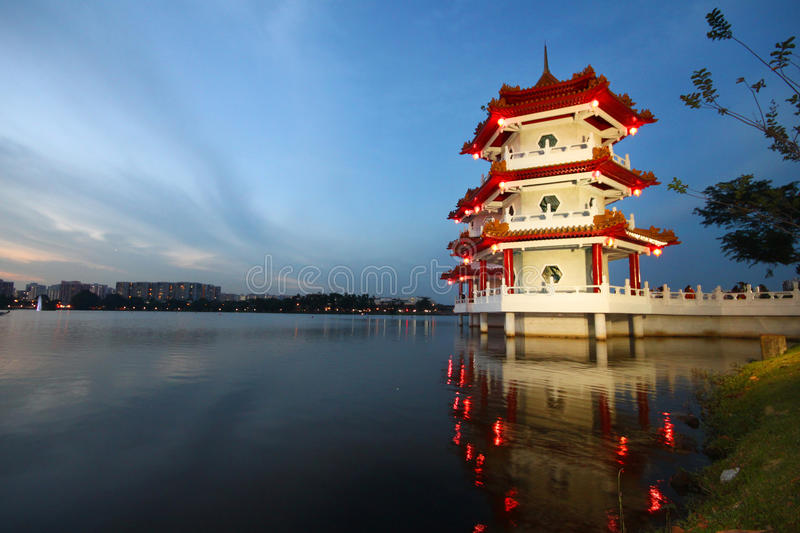 Chinese pagoda in the lake. Chinese pagoda decorated for mooncake festival stock image