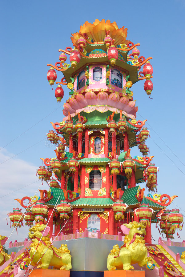 Chinese Pagoda Light Show Royalty Free Stock Images