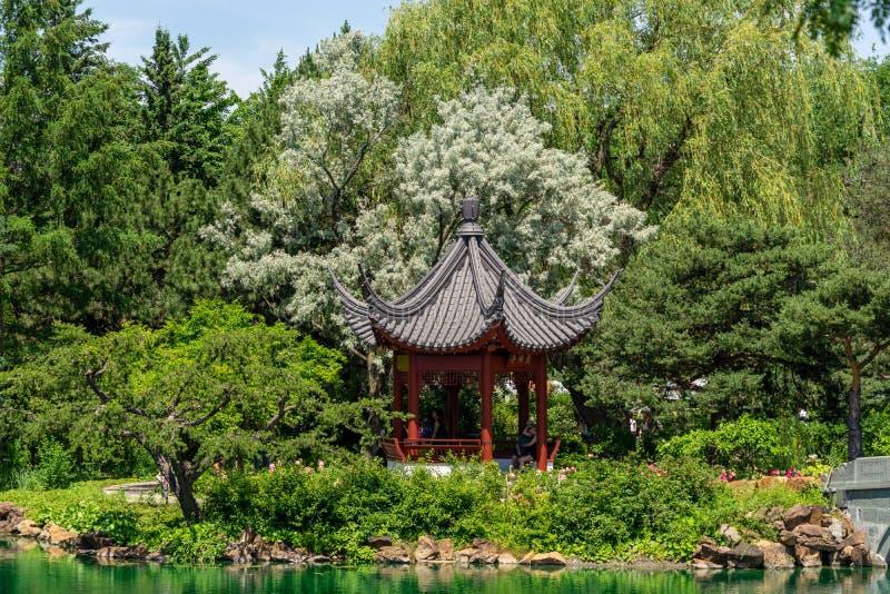 Chinese pagoda at Montreal Botanical garden stock images