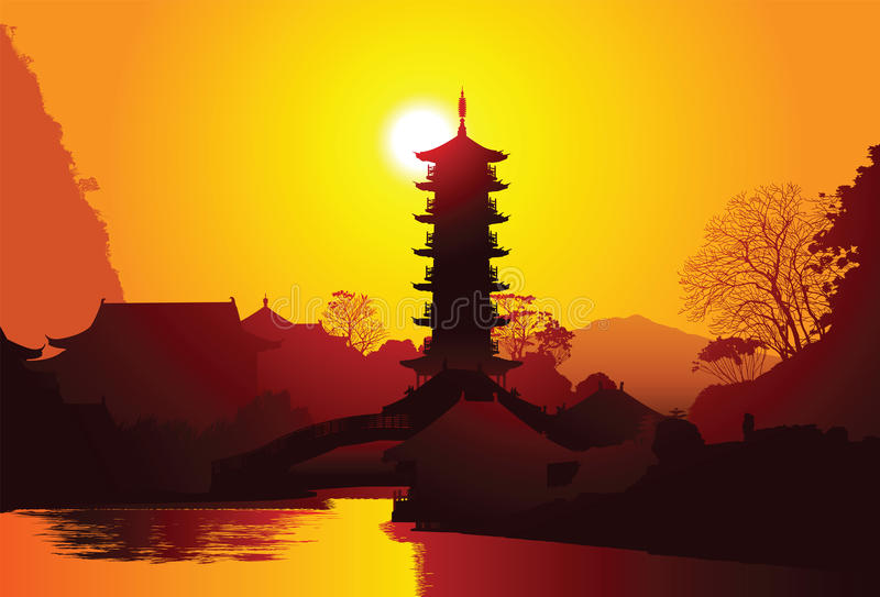 Chinese pagoda vector illustration