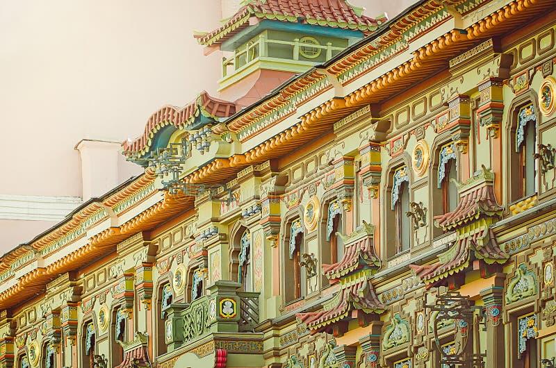 Chinese Pagoda - Tea House on Myasnitskaya Street in Moscow. Fragment of the facade. stock photos