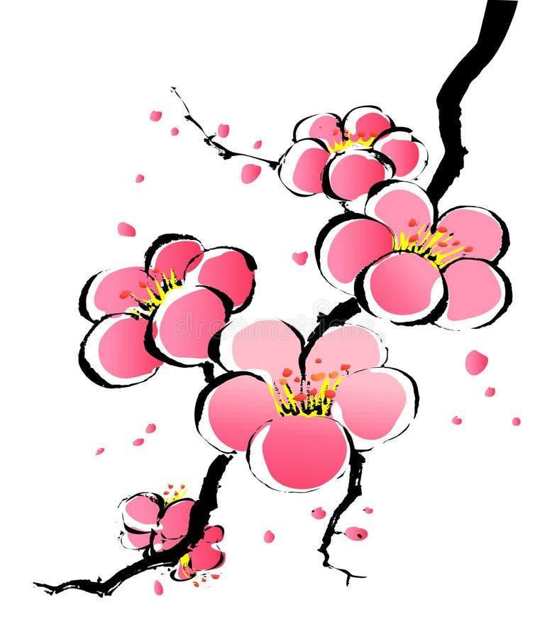 Chinese painting of sakura stock illustration