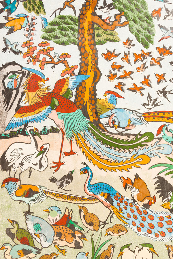 Chinese painting on the wall stock illustration