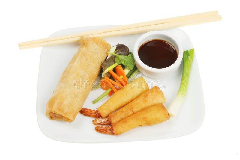 Chinese pancake rolls and prawns stock images