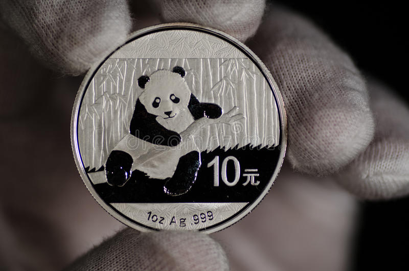 Chinese Panda Silver Coin White Glove. This Chinese Panda Silver Coin White Glove was shot on a black background & held with a white glove royalty free stock photography