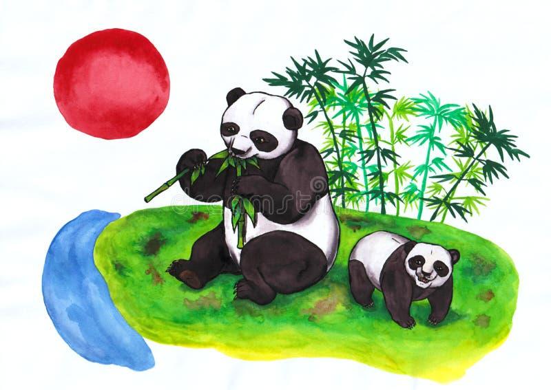 Chinese Pandamoeder die bamboe en welp rode zon eten die in China toenemen stock fotografie