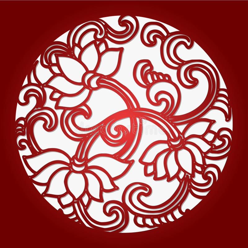 Chinese Paper-Cut Background, The Lotus.  royalty free illustration