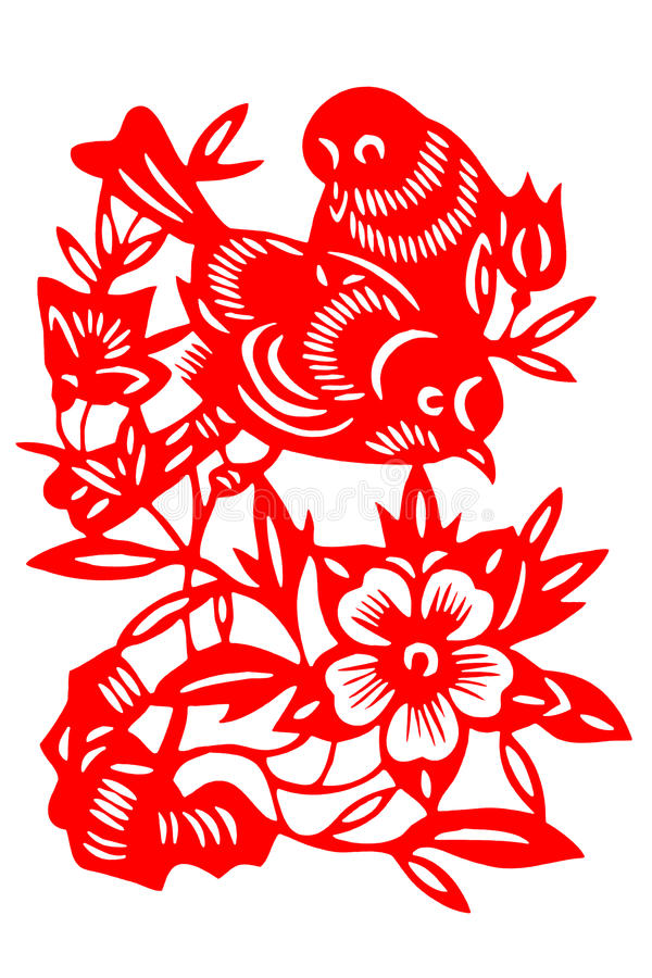 Chinese paper-cut bird royalty free stock photography
