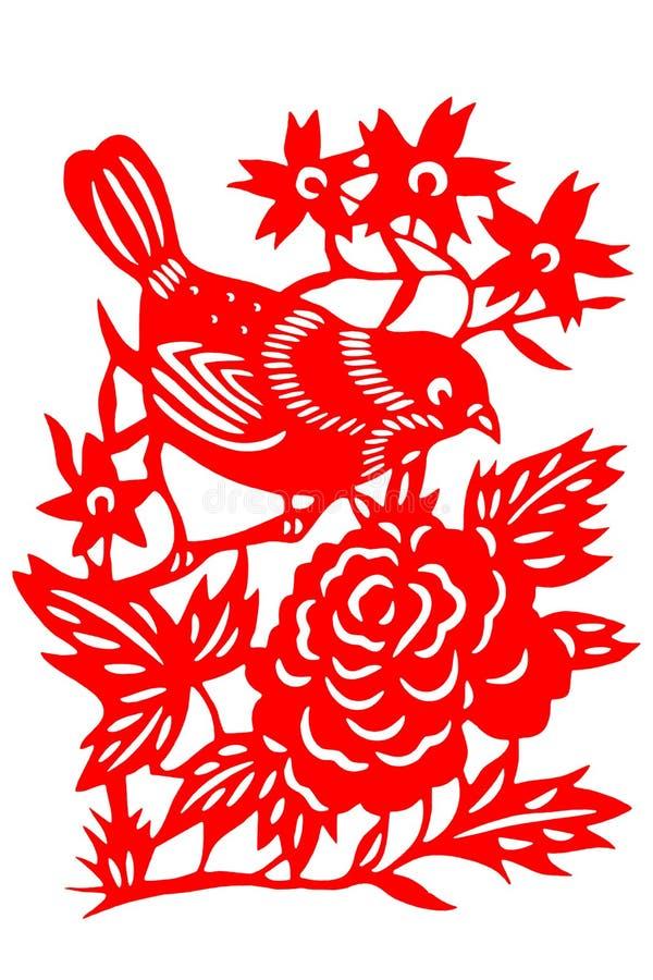 Chinese paper-cut bird. Studio shoot paper-cut bird on white background stock photos