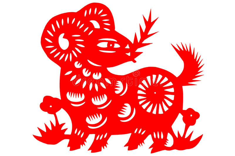 Chinese paper-cut sheep royalty free stock photo