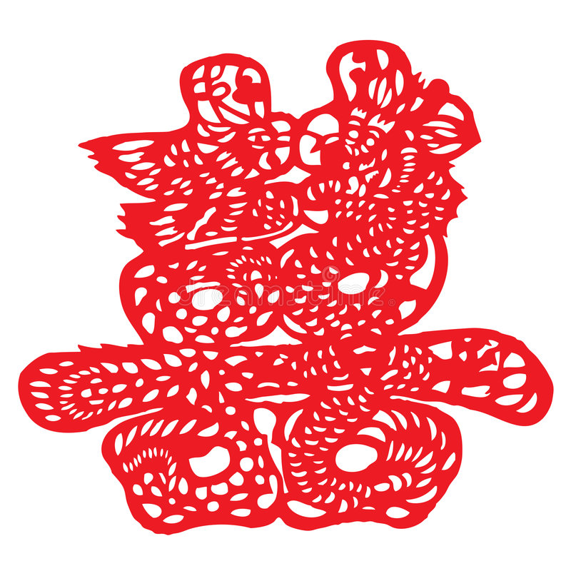 Chinese paper cutting royalty free illustration