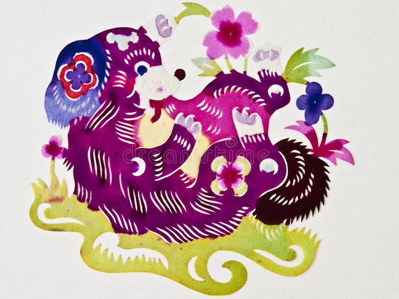 Chinese paper cutting dog stock images