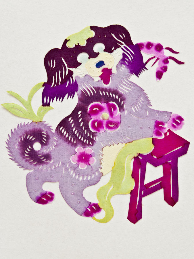 Chinese paper cutting dog stock photography