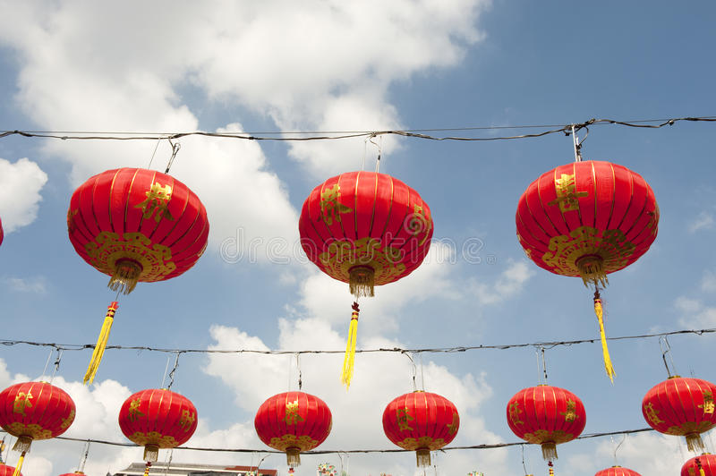 Chinese Paper Lanterns In Chinese New Year, Yaowaraj China Town Royalty Free Stock Photo