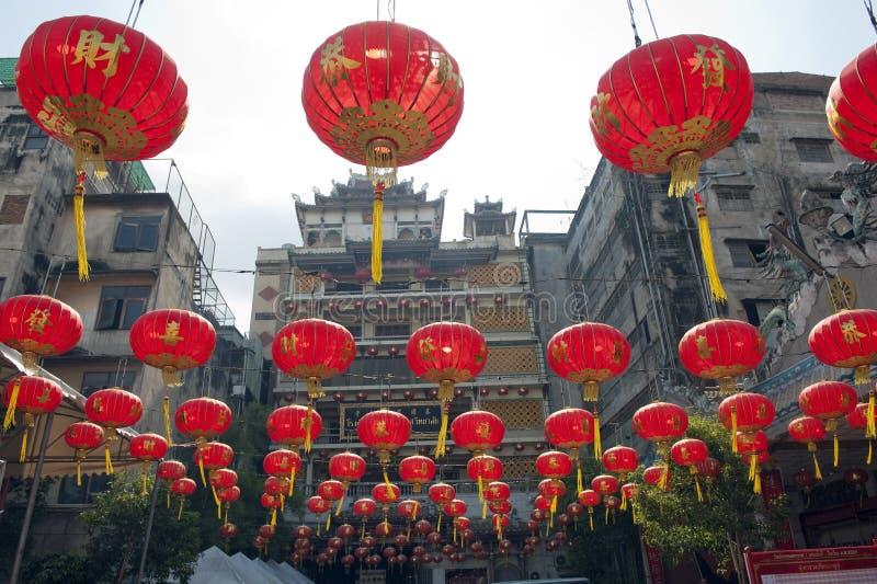 Chinese paper lanterns in chinese new year, Yaowaraj china town royalty free stock photos