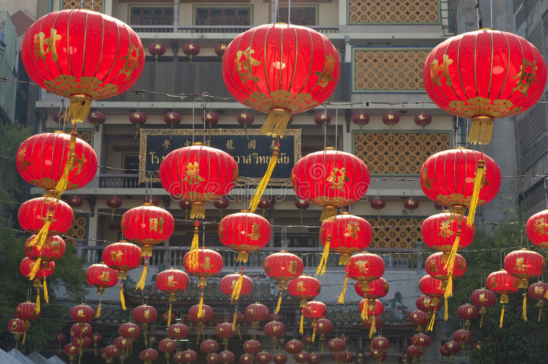 Chinese Paper Lanterns In Chinese New Year, Yaowaraj China Town Stock Images