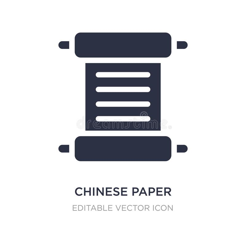 chinese paper writing icon on white background. Simple element illustration from Art concept vector illustration