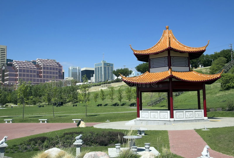 Chinese park. In the Saskatchewan River Valley in Edmonton Alberta stock photography