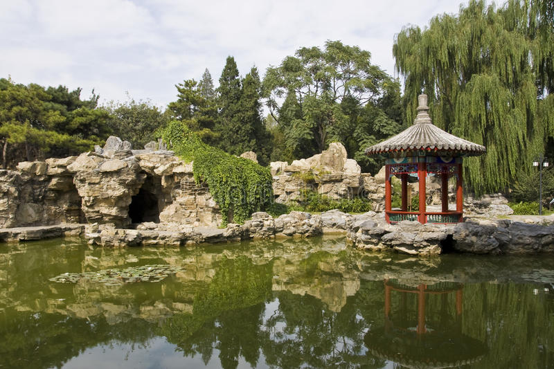Chinese park with lake and pavilion royalty free stock photo