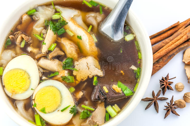 Chinese pasta square with spices stock images