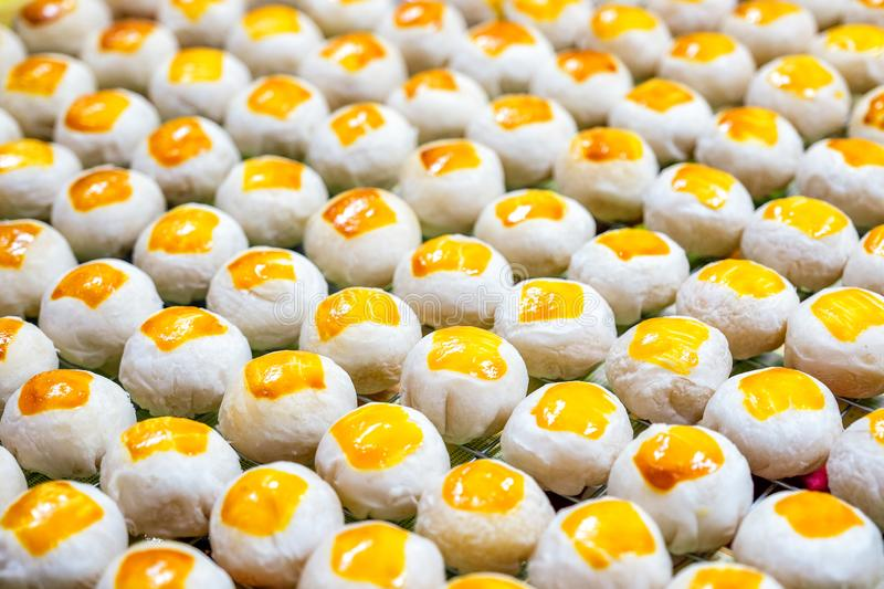 Chinese moon cakes. Close up Chinese pastry moon cakes royalty free stock image