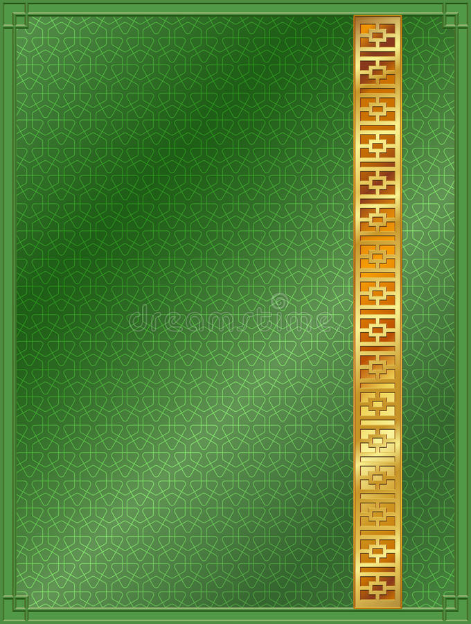Chinese pattern background template green and gold stock photos