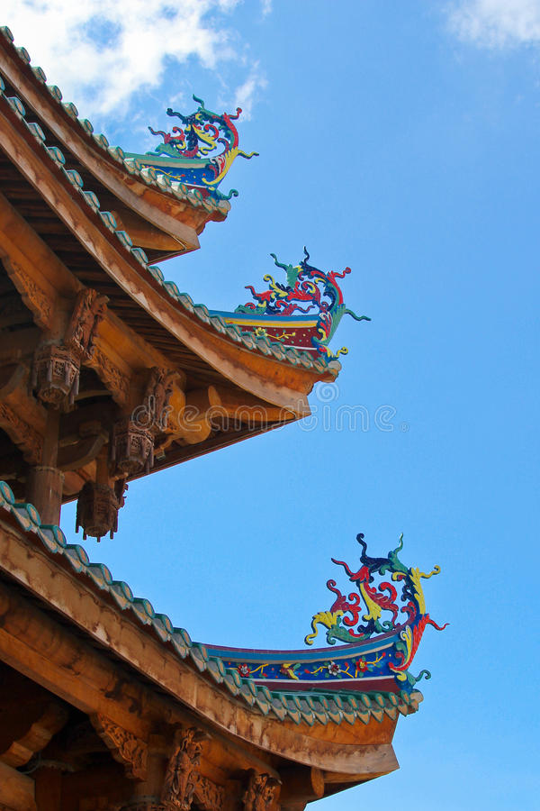 Chinese pattern. Chinese traditional style pattern on the roof stock images