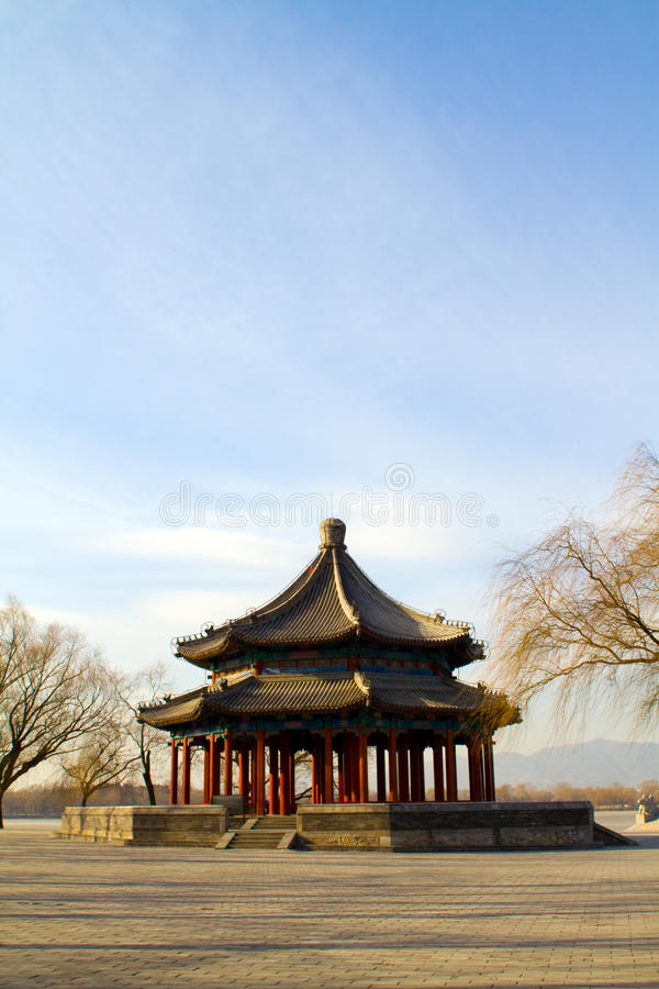 Chinese pavilion. Chinese Traditional architecture pavilion in the Summer Palace, Beijing, China stock image