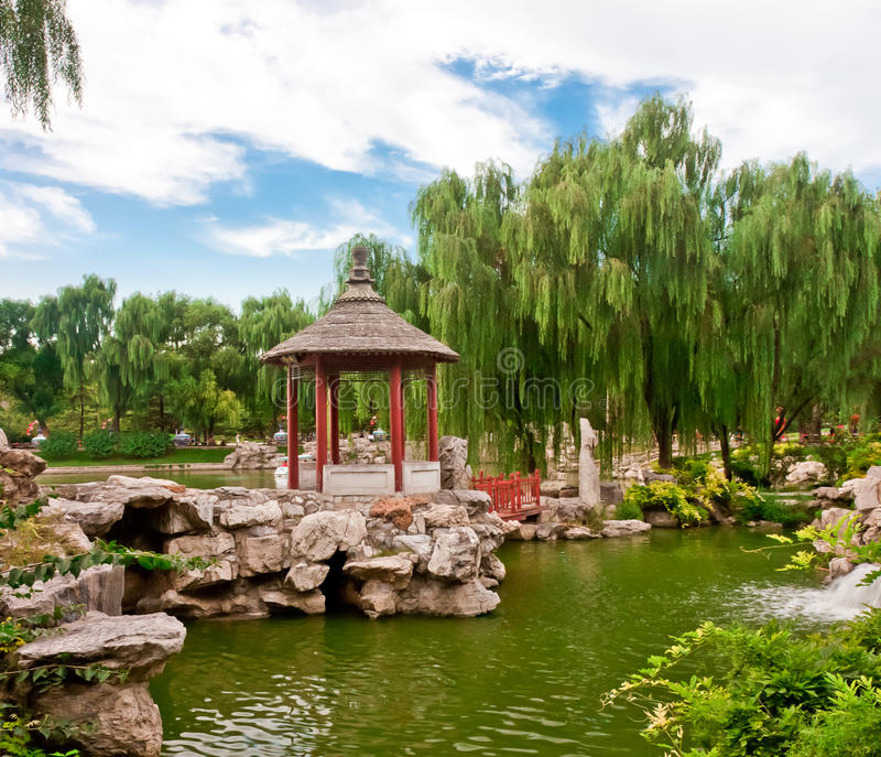 Chinese pavilion. In park of Beijing stock photos