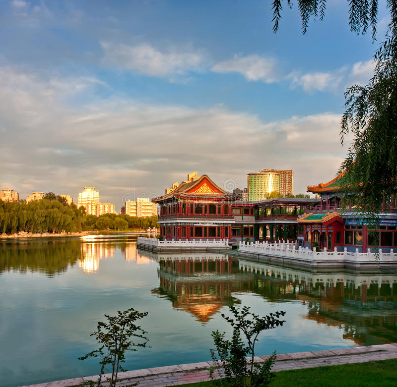 Chinese pavilion. In park of Beijing royalty free stock photography