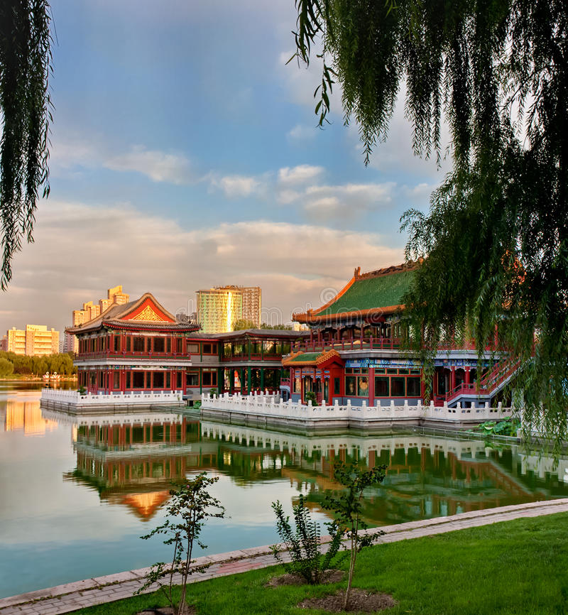 Chinese pavilion. In park of Beijing stock image