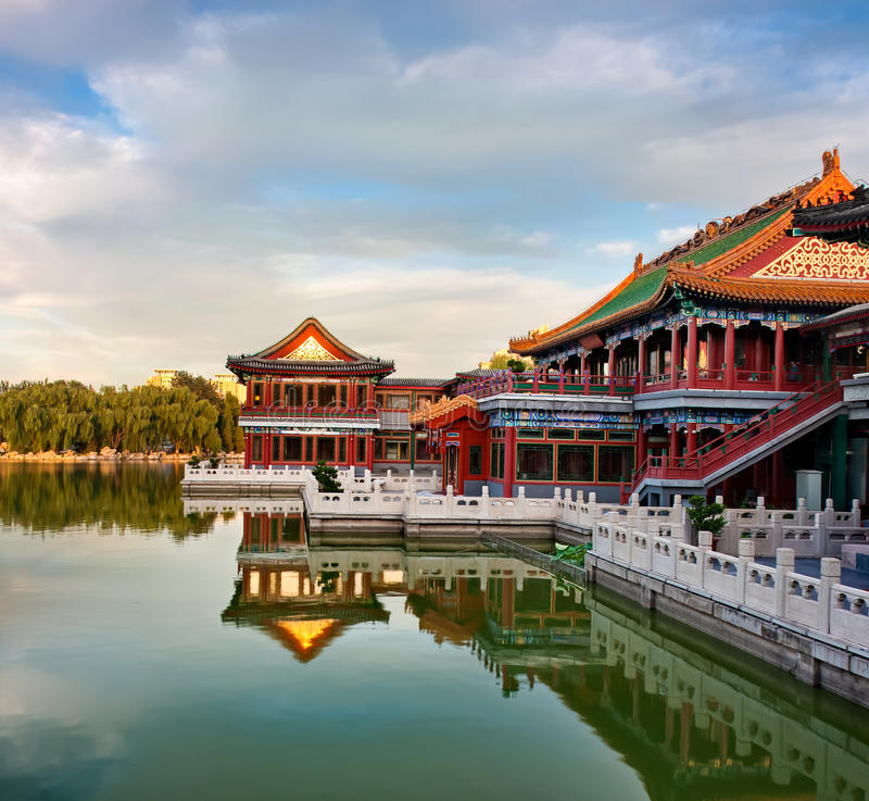Chinese pavilion. In park of Beijing royalty free stock image