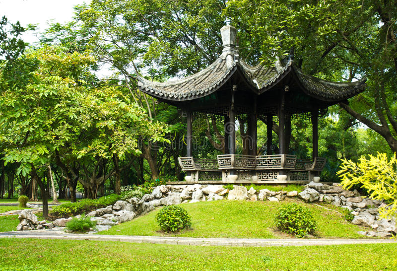Chinese pavilion. In the park stock images