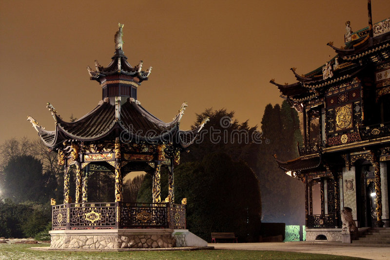 Chinese pavilion. And Far Eastern Museums, backlighted by night, Belgium, Brussel stock photos